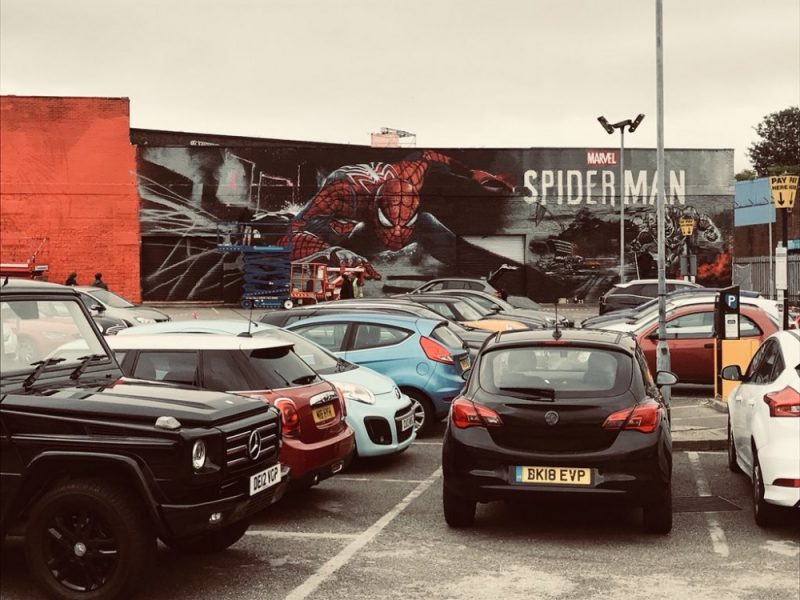 Spider-Man street art mural in Heath Mill Lane car park in Digbeth, Birmingham to launch the High Vis Fest
