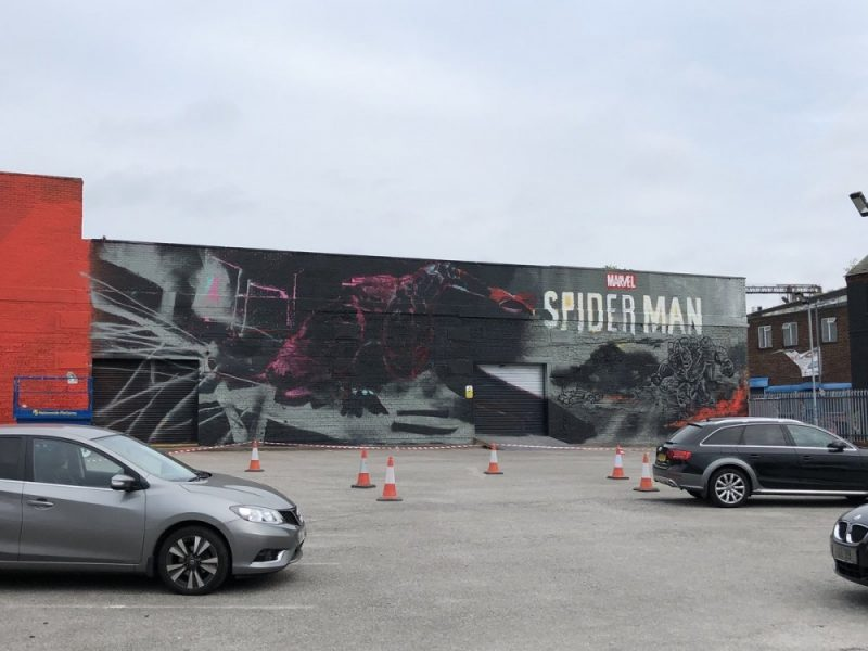 The Digbeth PS4 Spider-Man street art mural as it started out earlier in the week