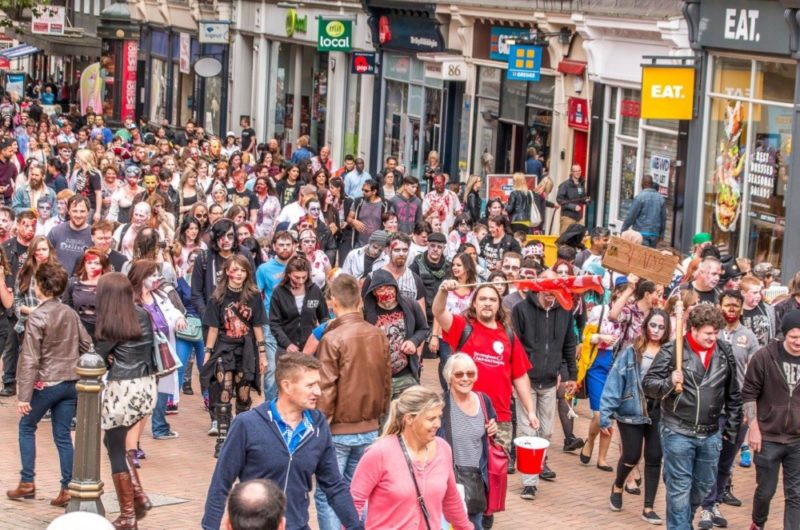 The 2016 Zombie Walk making its way along New Street in Birmingham