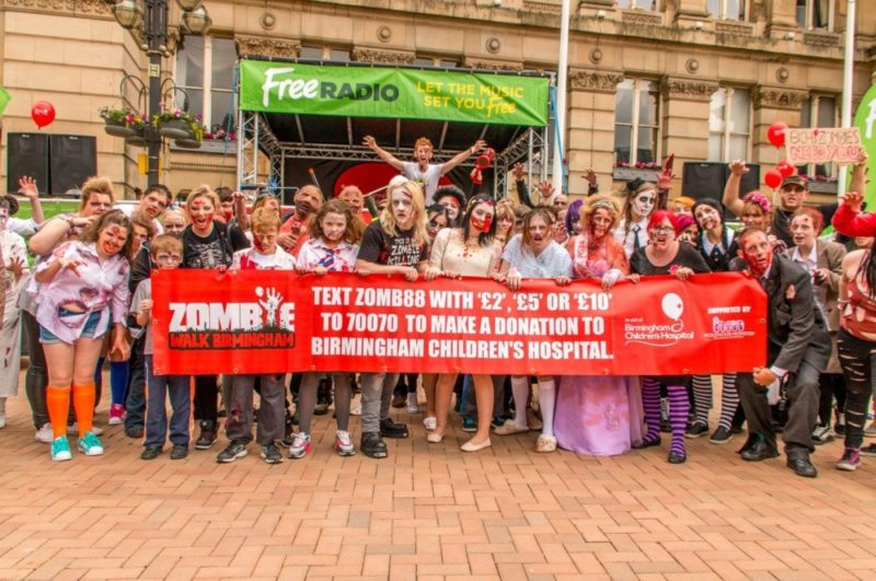 Former Free Radio presenter Adam Wilbourn hosting the Birmingham Zombie Walk 2016 in Victoria Square