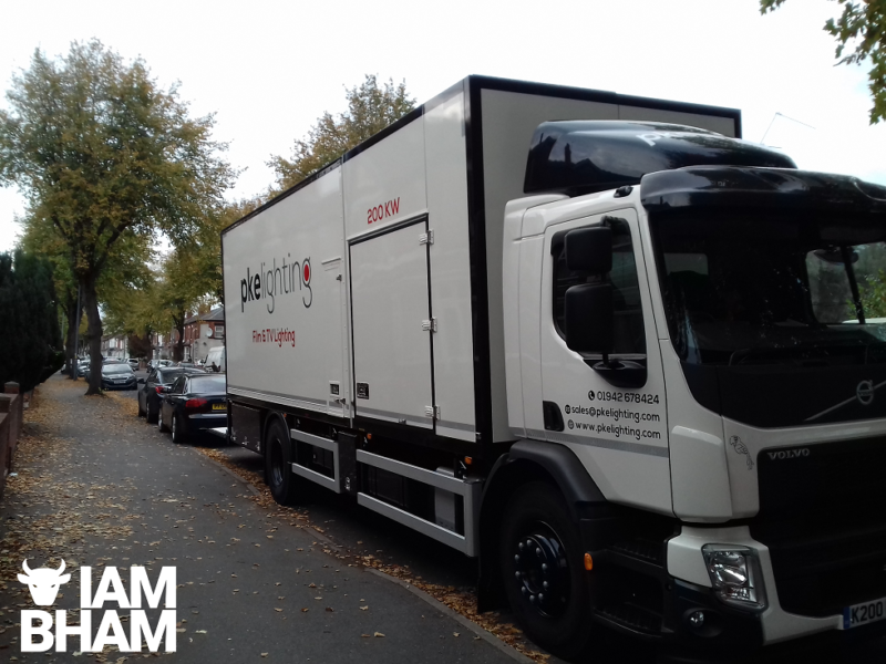 A production lighting lorry parked around the corner from the filming location in Small Heath