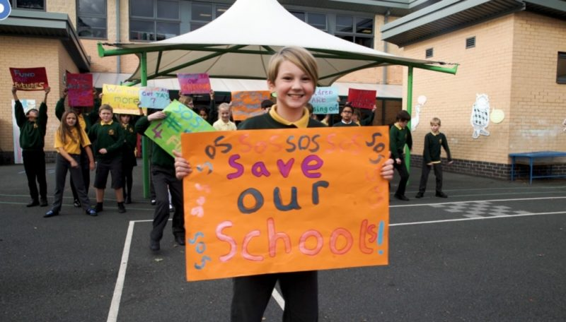 Pupils at Wheeler Lane Primary school in Birmingham took part in a 'Save Our Schools' campaign