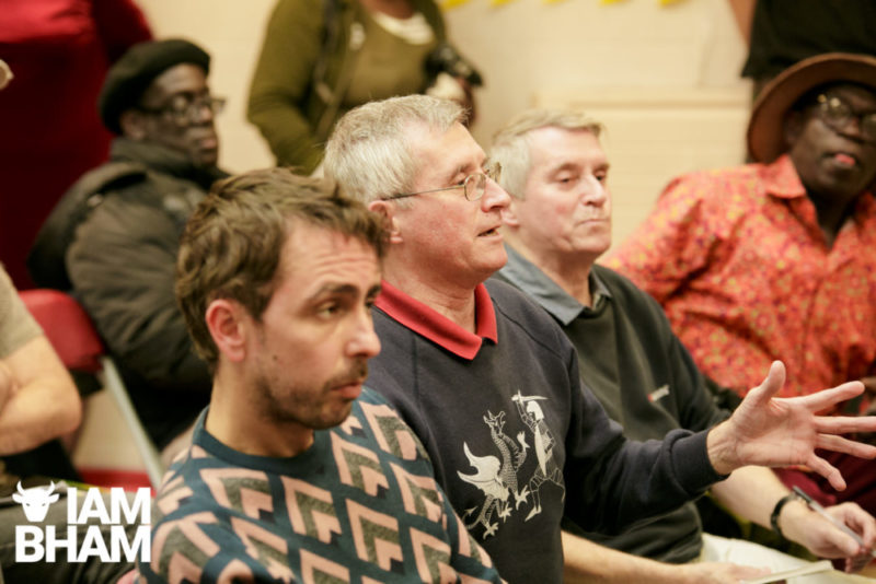 An audience member at the Q&A session following the unveiling of a Steel Pulse Memorial in Handsworth