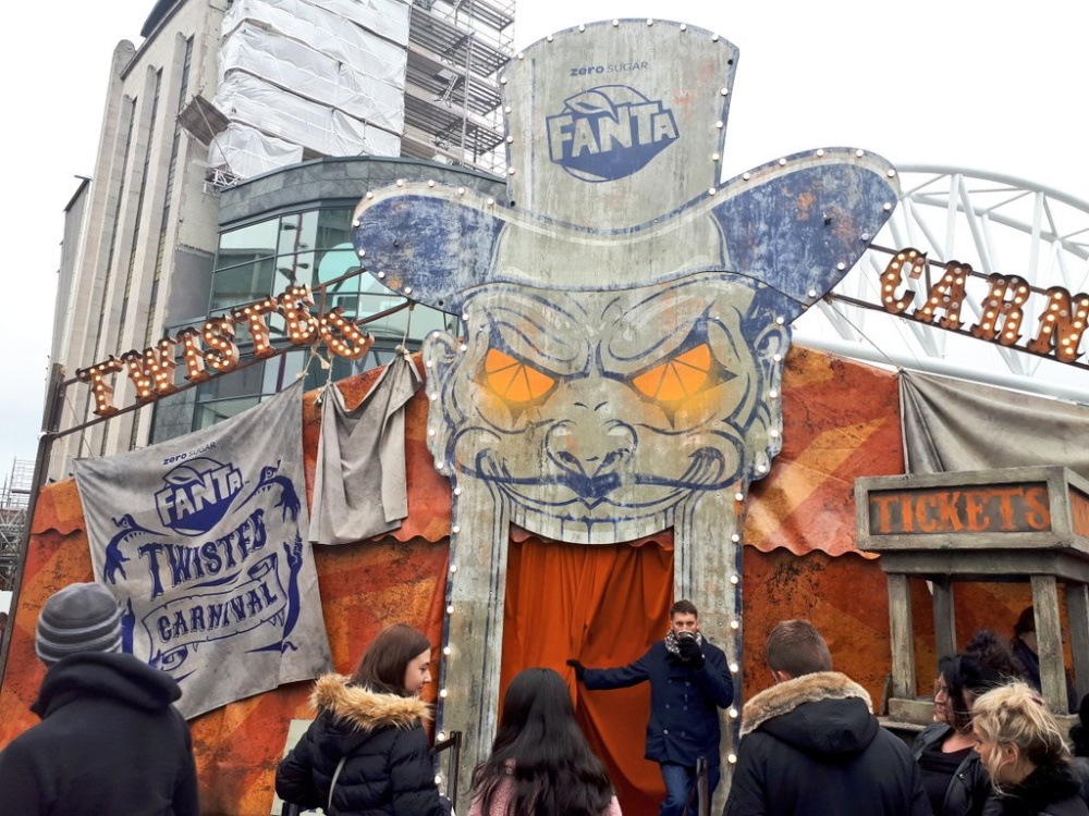 What is the Halloween Twisted Carnival at the Bullring and how long is it there?