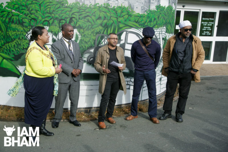 L-R: Lord Mayor Yvonne Mosquito, Ammo Talwar (Punch Records) Mykaell Riley and Basil Gabbidon (founding members of Steel Pulse) at The unveiling of the Steel Pulse Memorial