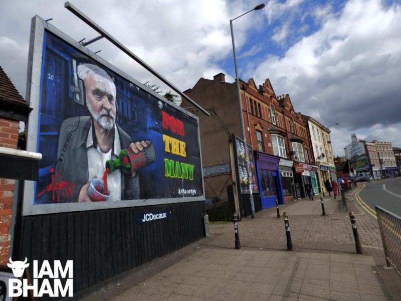 Void One's striking new street art of Jeremy Corbyn has now been replaced with a blank billboard