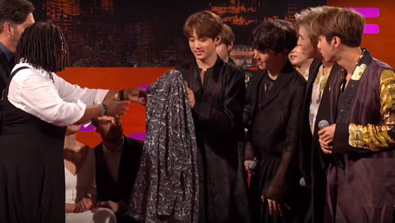 Whoopi Goldberg gifts her shirt to boy band BTS on the Graham Norton Show