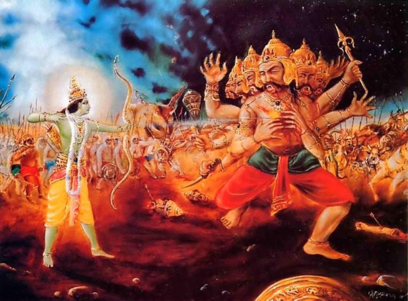 The 10 headed demon Ravana is slayed by Rama after he kidnaps Rama's wife Sita
