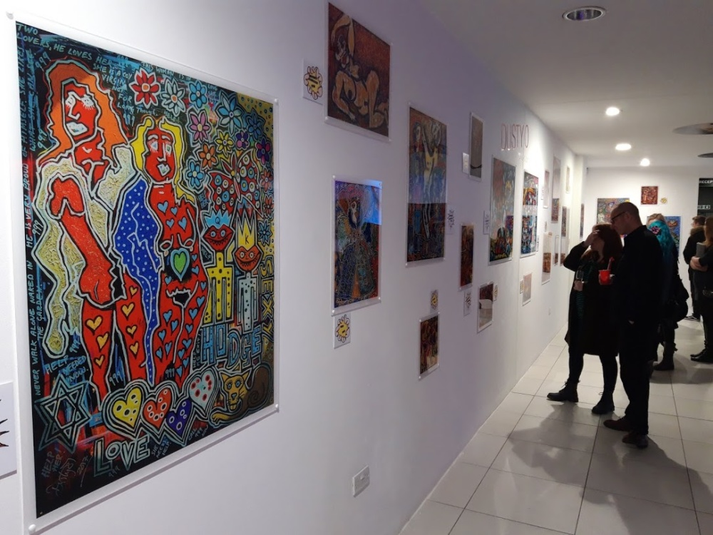 Artwork by Dusty O is being exhibited in The Custard Factory in Birmingham