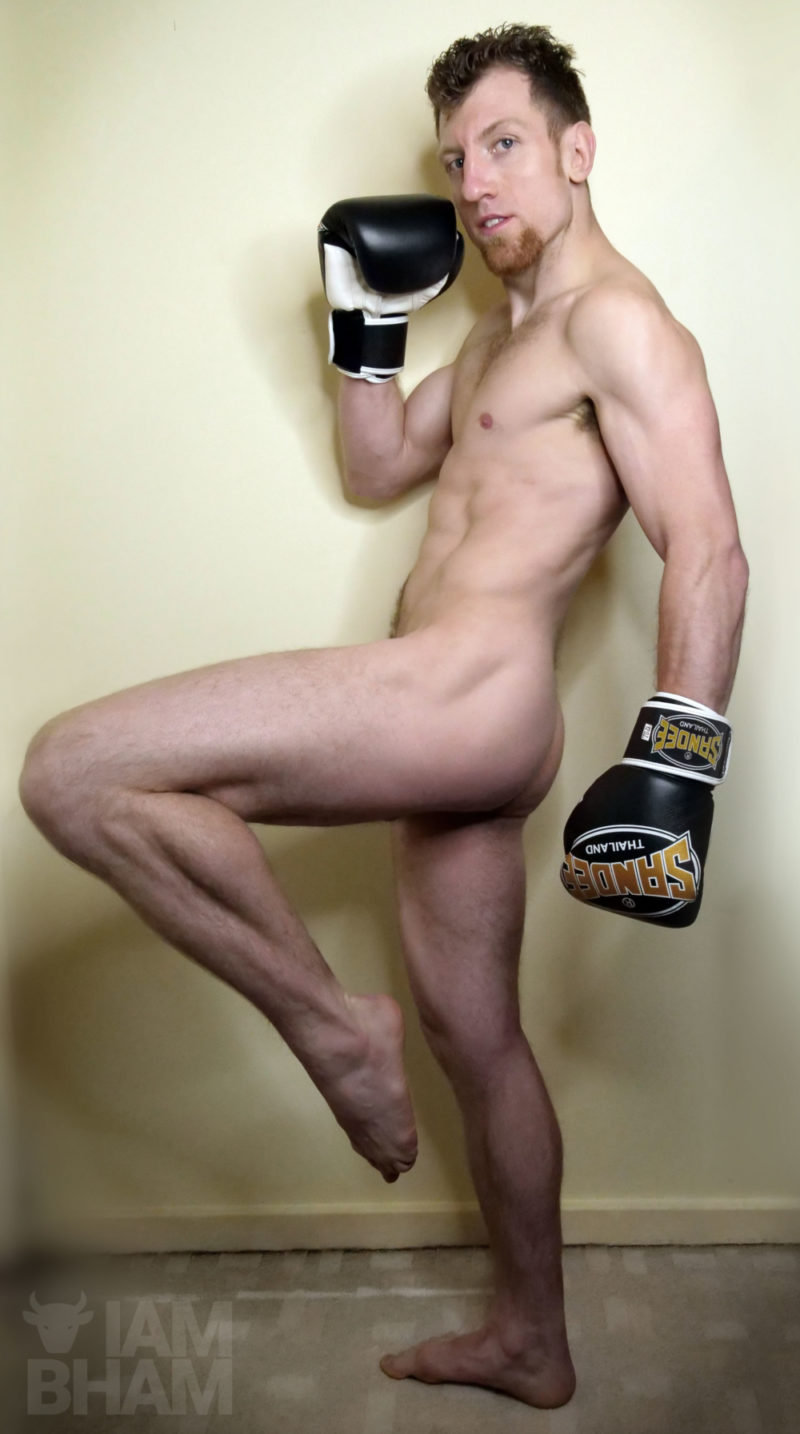 Professional Thai boxer Aaron 'Thaitan' Turner taking part in marking Movember