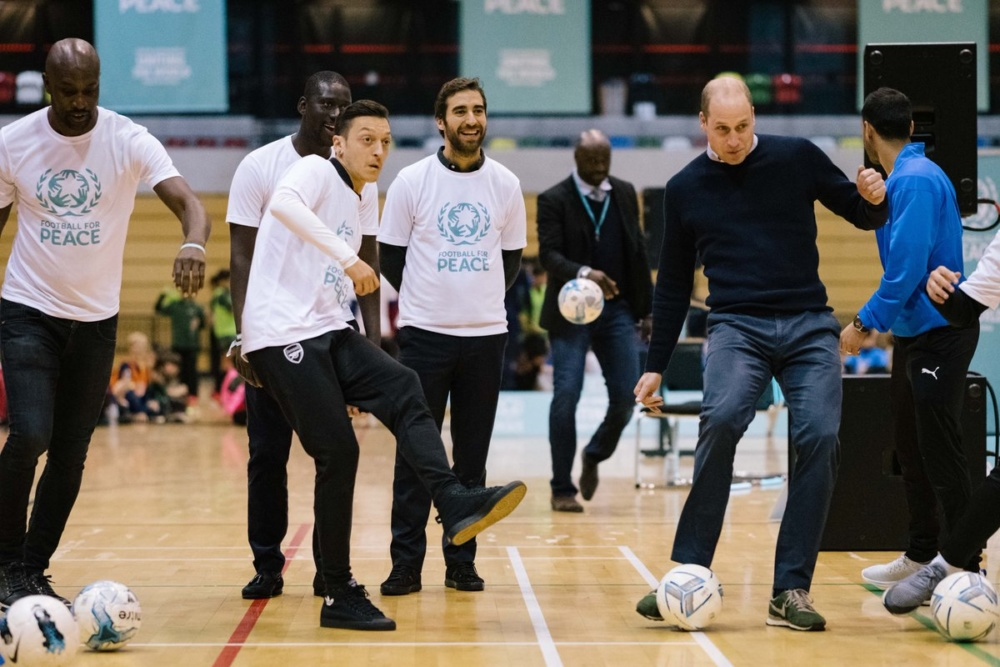 Prince William attends launch of Football for Peace campaign with international footballers