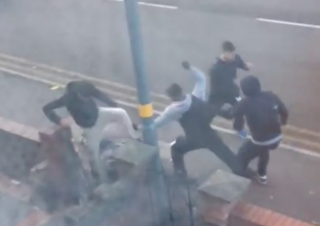 Video has emerged of a machete gang attacking a man in Aston, Birmingham