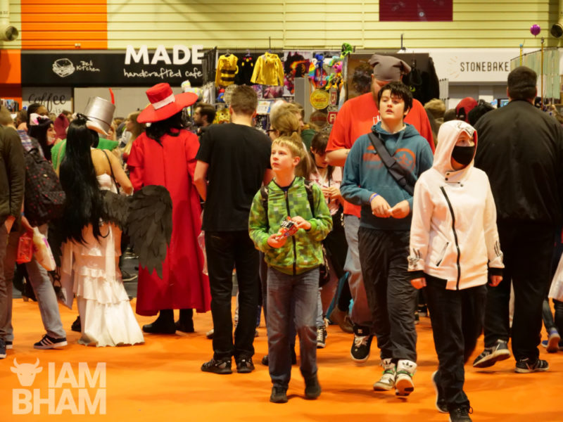 Comics and cosplay fans arrive at MCM Comic Con at the NEC in BIrmingham