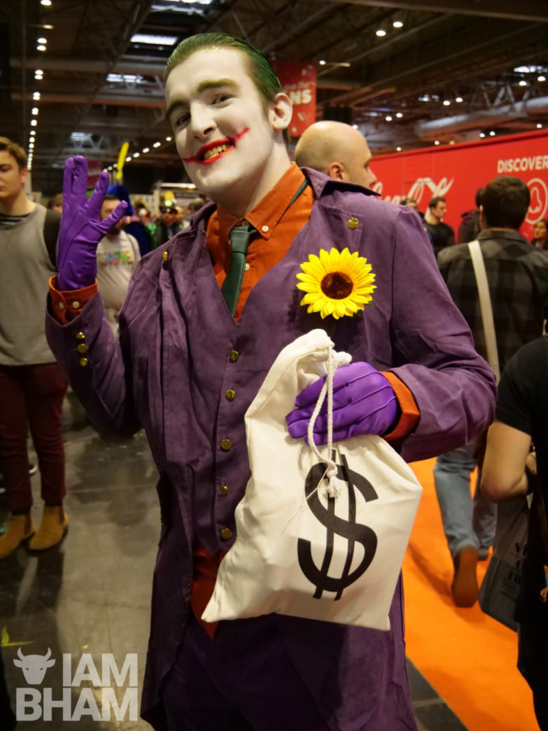 A Joker cosplayer at MCM Comic Con in Birmingham