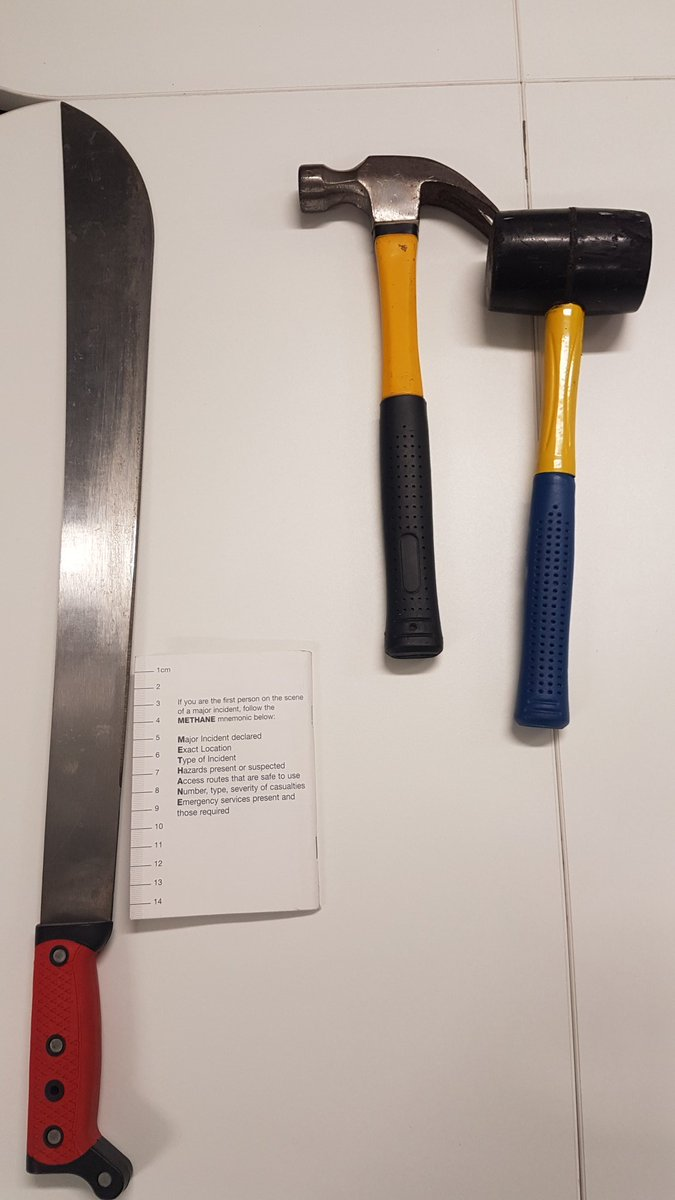 Weapons confiscated by West Midlands Police in the Aston machete attack