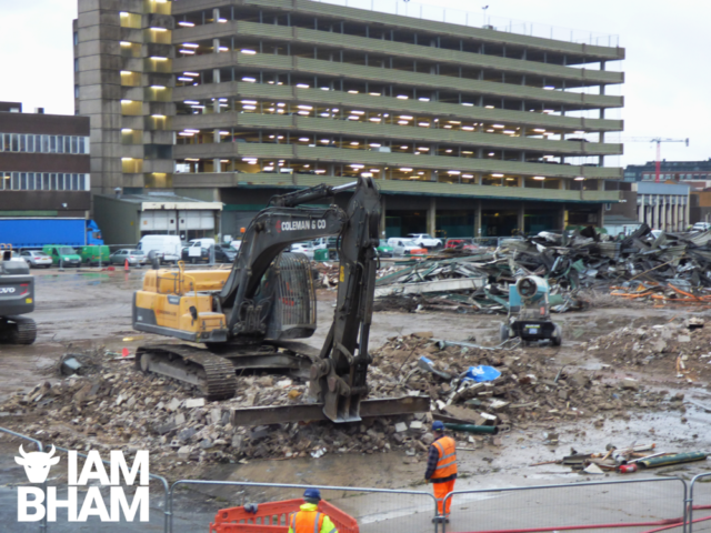 The site of the old Birmingham Wholesale Markets is being cleared away after demolition