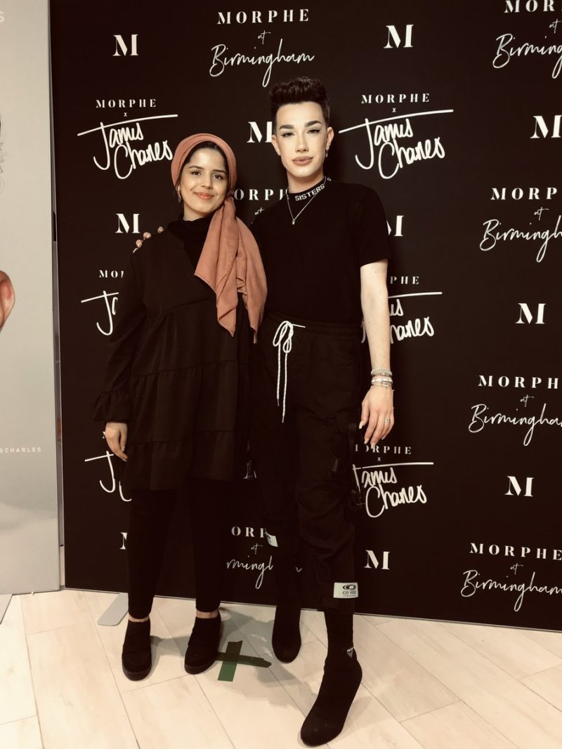 Charles James meets an MUA fan at the Morphe store in Birmingham's Bullring and Grand Central