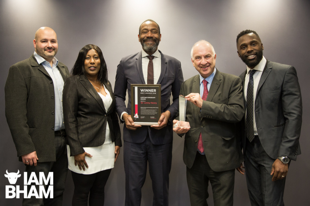 Sir Lenny Henry recieving his Lifetime Achievement Award from the MBCC Awards
