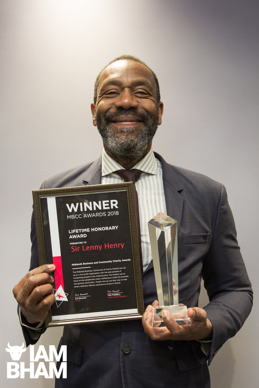 Sir Lenny Henry receiving his Lifetime Honorary Award from the MBCC Awards