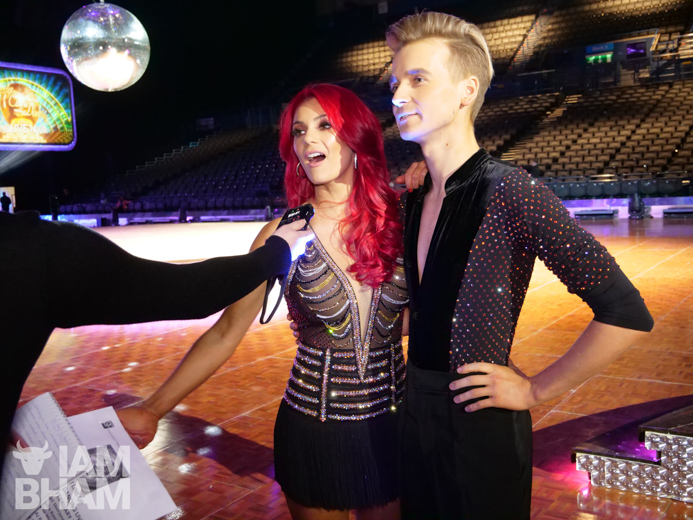 Strictly Come Dancing duo Joe Sugg and Dianne Buswell being interviewed in Birmingham