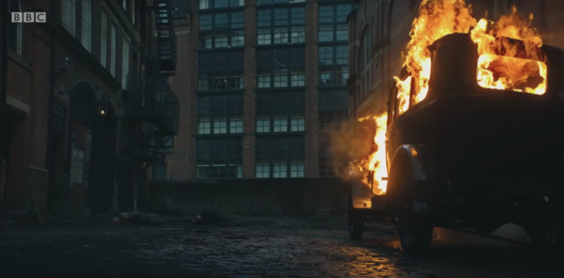 A car explosion in series 5 of Peaky Blinders