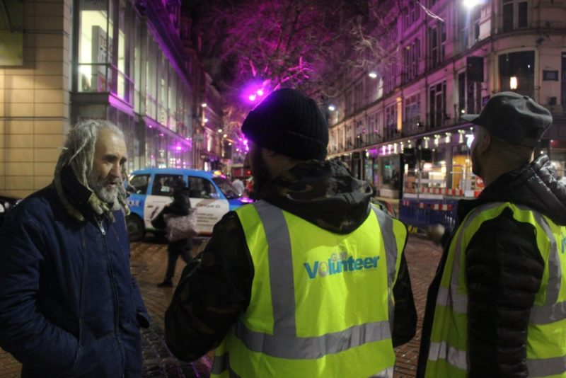 Volunteers from Green Lane Mosque carrying out outreach work on the streets of Birmingham