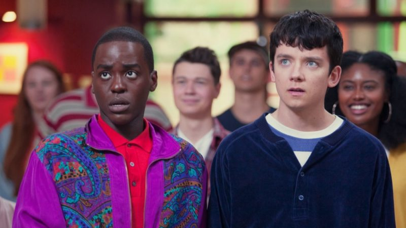 Stars Ncuti Gatwa and Asa Butterfield in Sex Education, which has been renewed for a second series on Netflix