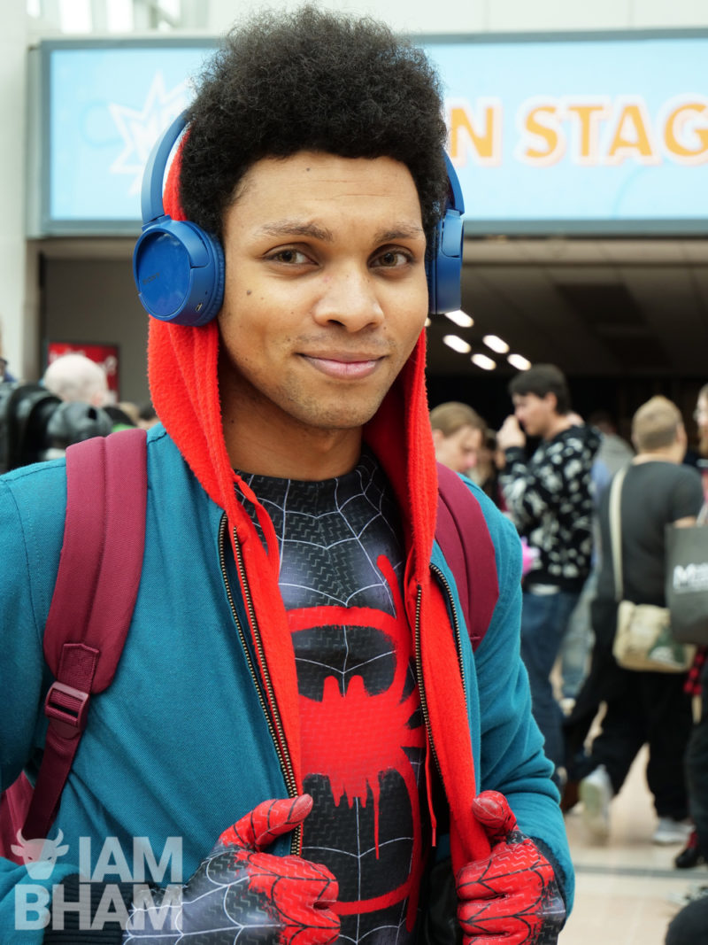 A young man on Spider-Man Miles Morales cosplay at the NEC in Birmingham last year
