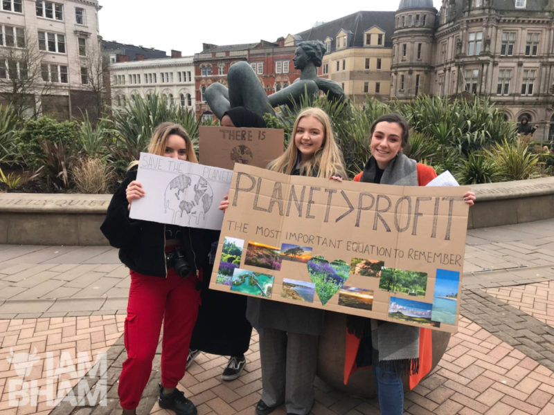 Students gather outside the Birmingham Council House as part of global Climate Strike protests