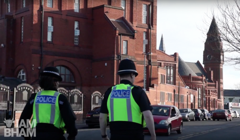 Police walking patrolling Green Lane Masjid Mosque