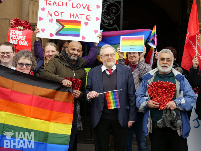 Pro LGBTQ+ education activists and campaigners meet with John Spellar, MP for Warley, at his constituency surgery meeting in Smethwick on Saturday 6th April 2019
