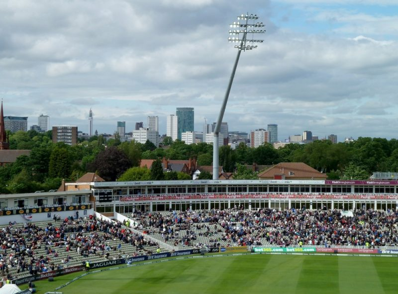 The Raglan and R. E. S. Wyatt Stands at Edgbaston Cricket Ground, with Birmingham City Centre behind