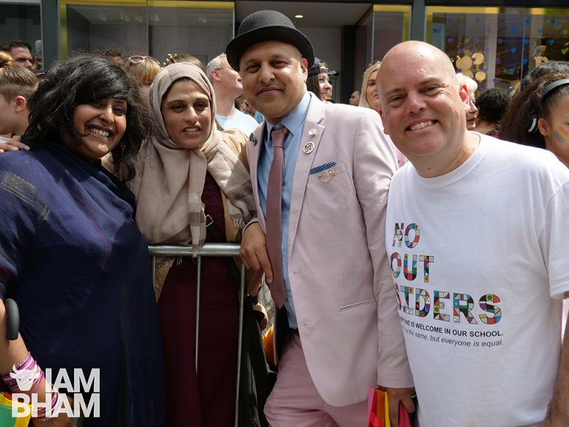 'No Outsiders' creator and teacher Andrew Moffat with Muslim colleagues and friends at Birmingham Pride this weekend