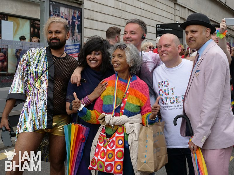 Ferhan Khan (left) marching at the front of the Birmingham Pride parade alongside (L-R) Saima Razzaq, Lawrence Barton, Andrew Moffat and Khakan Qureshi