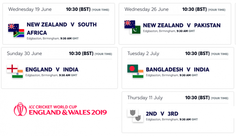 Cricket World Cup 2019 - Birmingham games