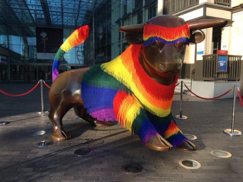 The Bullring's infamous bull is dressed ahead of Birmingham Pride