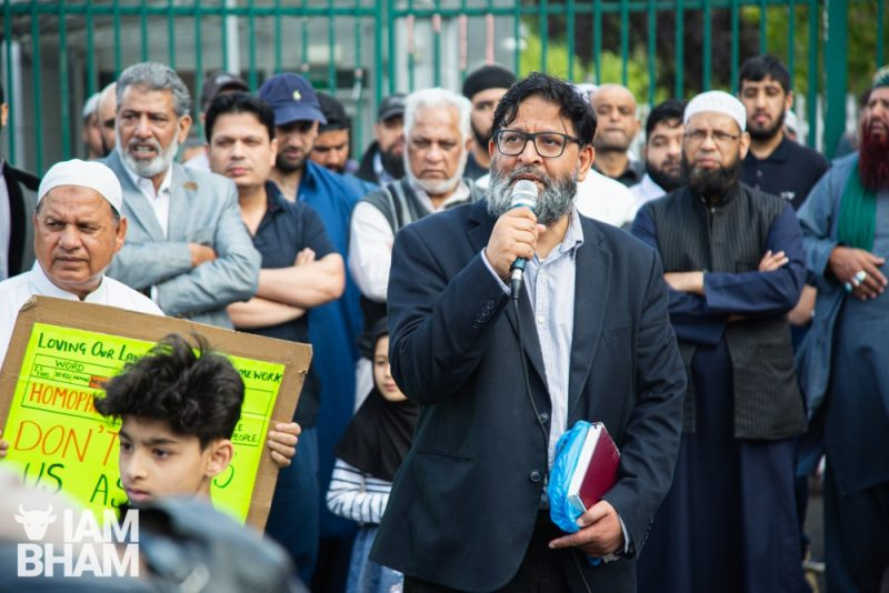 Anti LGBT equality education protests outside Anderton Park School in Balsall Heath, Birmingham, on 24.05.19. Photo by Paul Stringer.