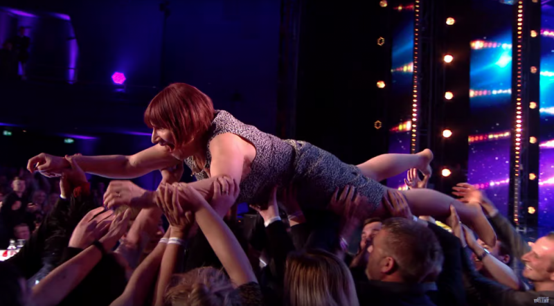 Janice Connolly crowd-surfing on Britain's Got Talent as Barbara Nice
