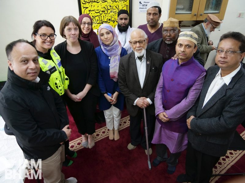MP Jess Phillips with members of the Muslim community in her constituency at the Jamia Masjid Faiz ul Quran Ghousia mosque in Stechford in March