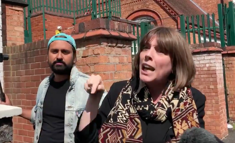 MP Jess Phillips locks horns with anti-LGBT equality protesters outside Anderton Park School