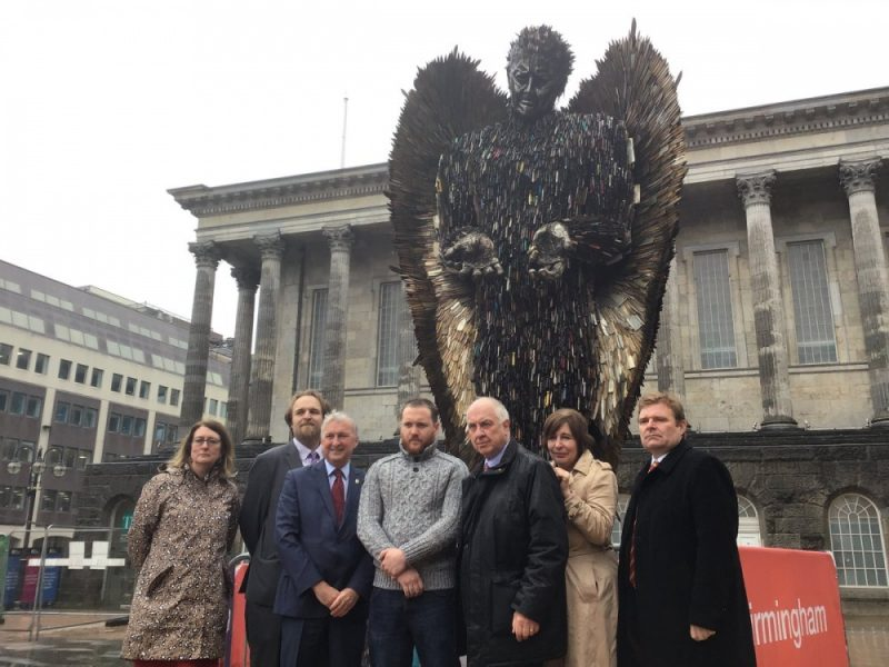 West Midlands Police Crime Commissioner David Jamieson joins Cllr Ian Ward, Leader of Birmingham City Council, and Cllr John Cotton in front of the Knife Angel in Birmingham