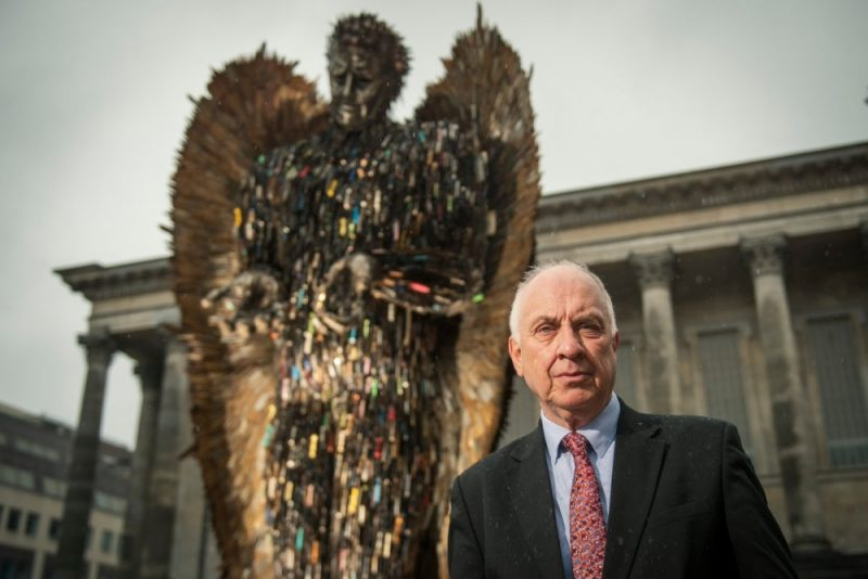 West Midlands Police Crime Commissioner David Jamieson in front of the Knife Angel in Victoria Square, Birmingham