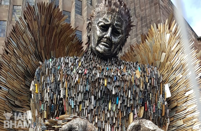 The 27-foot 'Knife Angel' made from 100,000 weapons has arrived in Birmingham