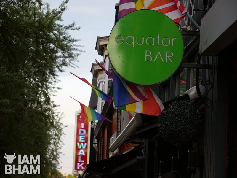 Gay Village venues, clubs and bars: Equator Bar in Hurst Street in Birmingham city centre on 22.05.19