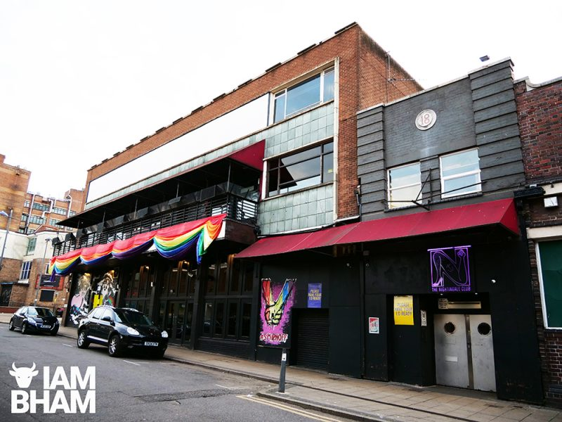 Gay Village venues, clubs and bars: The Nightingale Club in Lower Essex Street / Hurst Street in Birmingham city centre on 22.05.19 Features Rainbow Flag hanging outside from building. Features 'Love Is Love' slogan'