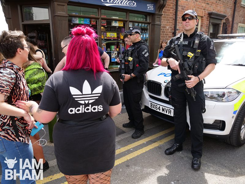 Armed police officers at the entrance of Birmingham Pride in Hurst Street over the weekend