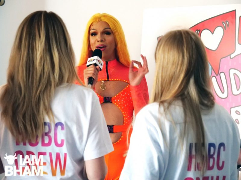 Aja chats to reporters at Birmingham Pride 2019