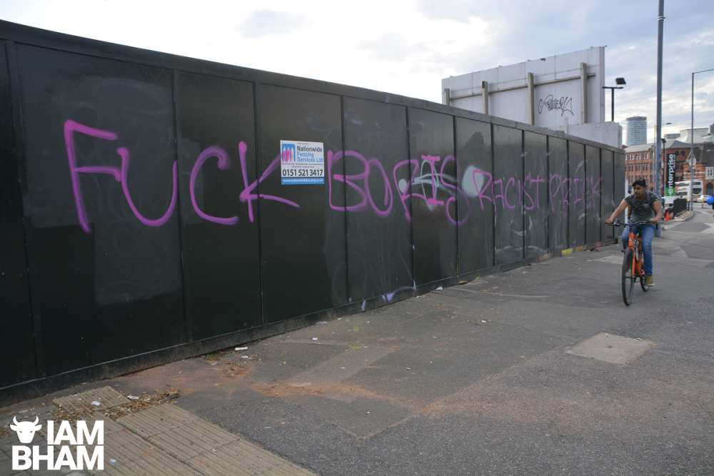 'F*ck Boris' graffiti daubed across Birmingham during new PM's visit to the city