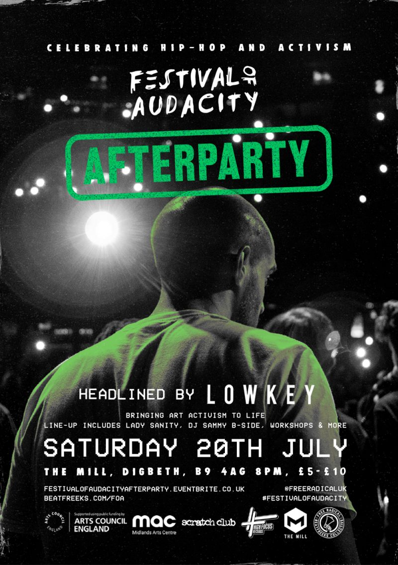 The Festival of Audacity after-party 2019 in Birmingham will be headlined by Lowkey
