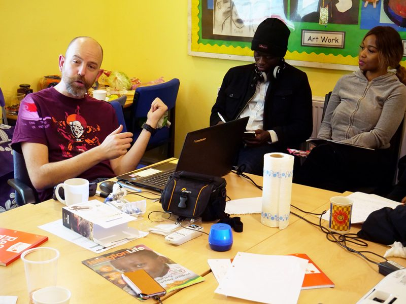 Writer Olly MacNamee at a previous MiFriendly Cities media lab workshop in Birmingham